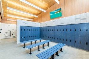 Shore Aquatic Center Freestanding Locker Room Benches